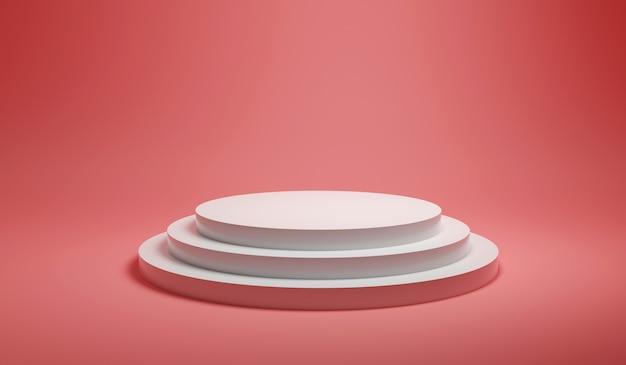 Rendering minimalista astratto bianco rotondo piattaforma podio su sfondo rosa pastello