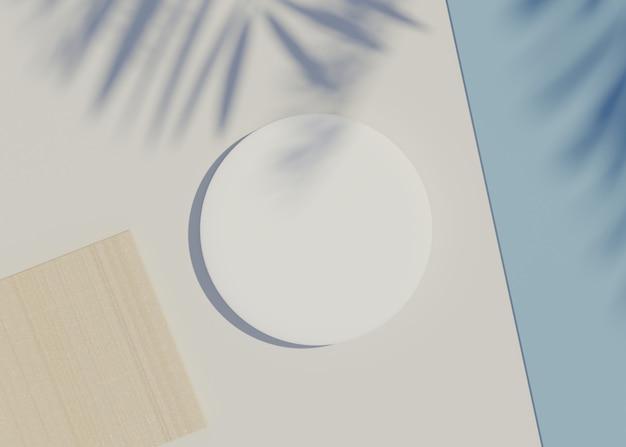 Render bianco cornice cilindrica vuota per prodotti display con ombre di foglie di palma