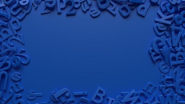 Rendering 3d di lettere dell'alfabeto blu