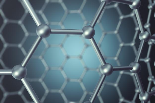 Rappresentazione del primo piano esagonale della forma geometrica di nanotecnologia astratta