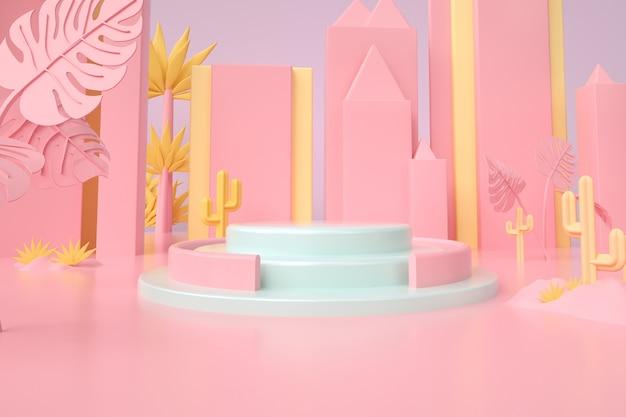 Rendering di sfondo rosa astratto con podio per stand del prodotto