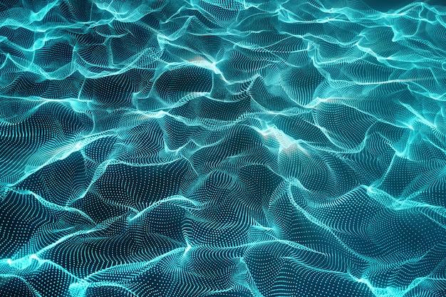 Rendering dell'onda poligonale astratta con punti e linee di collegamento.
