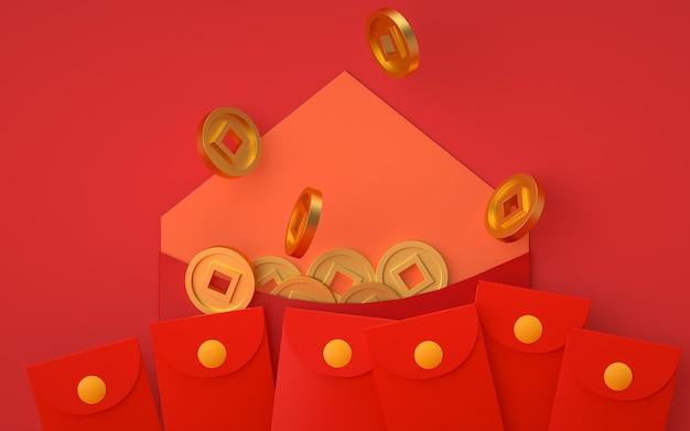 Rendering di sfondo rosso astratto con decorazioni in stile cinese