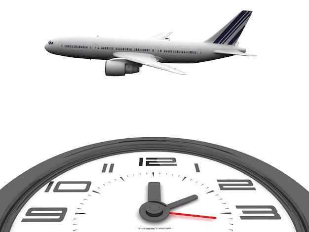 Rendering di un aeroplano sopra un orologio
