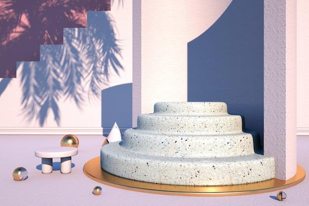 Rendering del podio circolare in marmo per l'esposizione dei prodotti dello stand