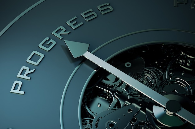 Rendering della freccia della bussola che punta alla parola progresso