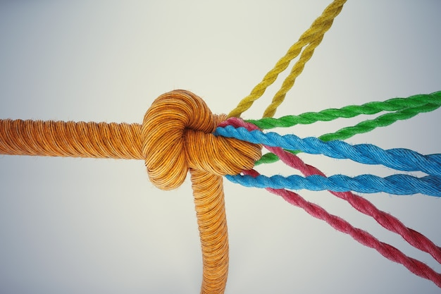Rendering di diverse corde colorate legate insieme con un nodo