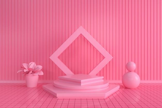 Rendering del piedistallo esagonale geometrico con sfondo rosa per supporto del prodotto