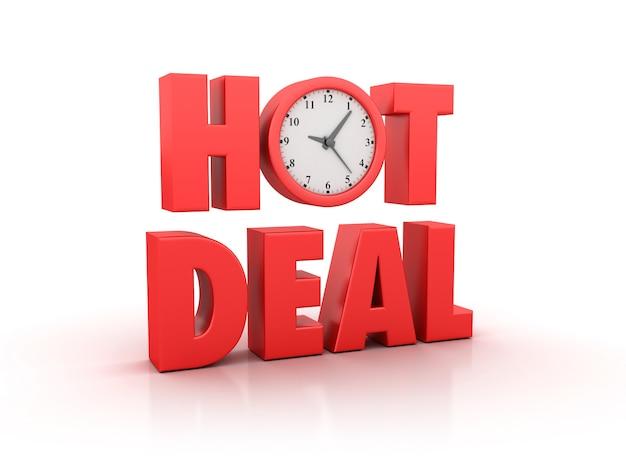 Rendering illustation di hot deal word con orologio