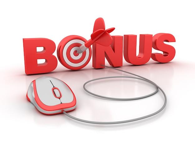 Illustrazione della rappresentazione della parola bonus con il topo del computer e dell'obiettivo