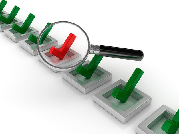 Illustrazione della rappresentazione della lista di controllo con la lente di ingrandimento
