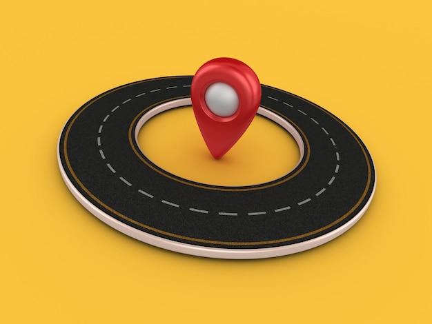 Illustrazione della rappresentazione della strada circolare con l'indicatore di gps