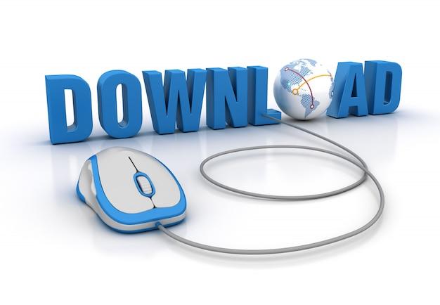 Illustrazione della rappresentazione della parola di download con il mondo del topo e del globo del computer