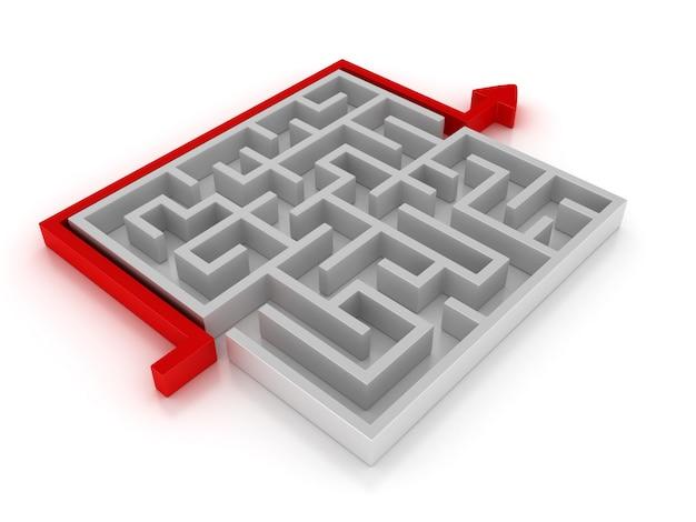 Illustrazione della rappresentazione di un labirinto con il percorso della freccia