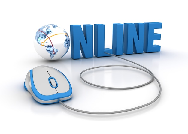 Illustrazione della rappresentazione della parola online con il mondo del globo e il topo del computer