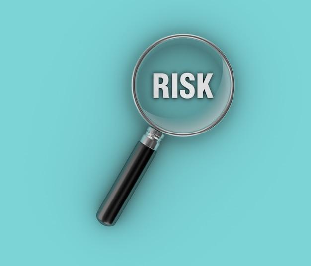 Illustrazione della rappresentazione della parola rischio con il vetro d'ingrandimento