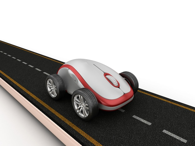Illustrazione della rappresentazione della strada con il topo del computer sulle ruote