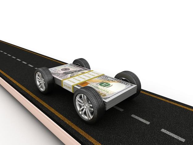 Illustrazione della rappresentazione della strada con le banconote in dollari sulle ruote