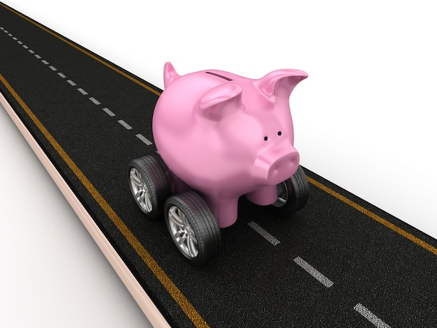 Illustrazione della rappresentazione della strada con il porcellino salvadanaio sulle ruote