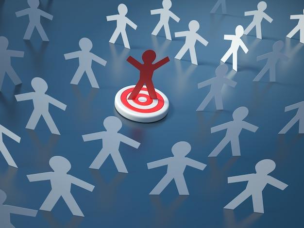 Illustrazione della rappresentazione della gente del pittogramma di lavoro di squadra sull'obiettivo