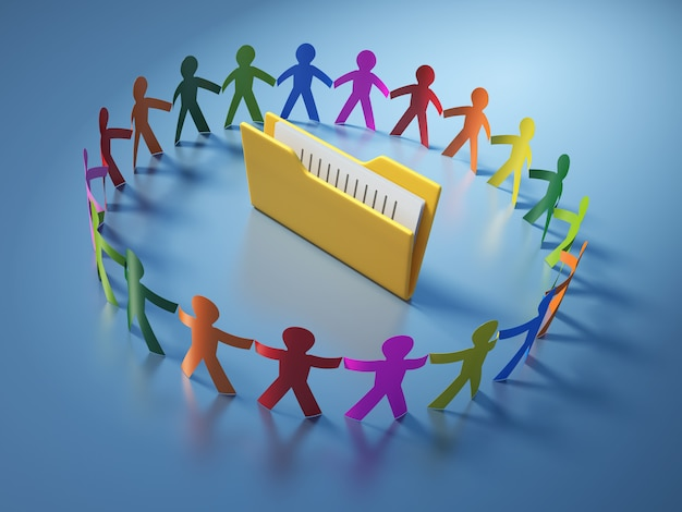 Illustrazione della rappresentazione della gente del pittogramma di lavoro di squadra con l'archivio della cartella del computer