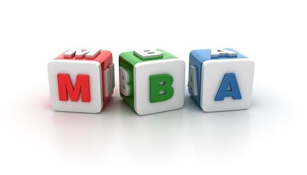 Illustrazione di rendering di blocchi di piastrelle con mba word