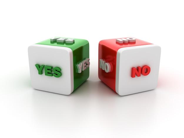Illustrazione della rappresentazione dei blocchetti delle mattonelle con sì no parole