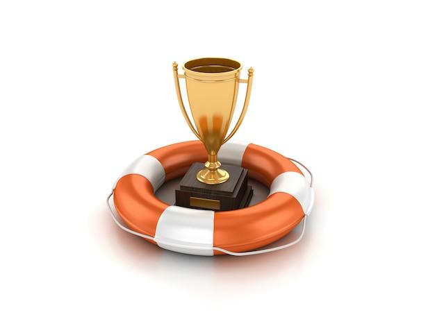 Illustrazione della rappresentazione del trofeo con la cintura di salvataggio