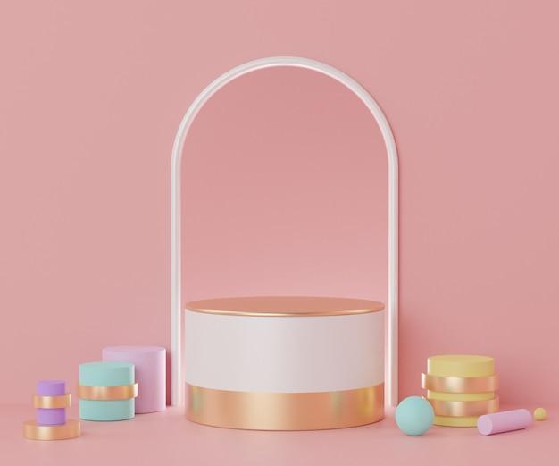 Rendering della scena del podio vuota minima con forme geometriche per la presentazione dei prodotti
