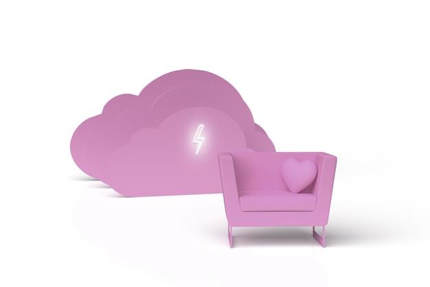 Rendering di un divano e di uno sfondo di nuvole con una torcia - colori monocromatici