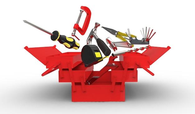 Rendering di una cassetta degli attrezzi e più strumenti