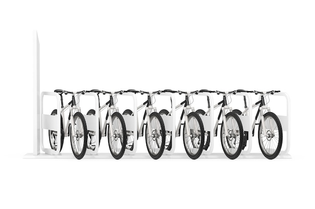 Concetto di noleggio biciclette. fila di moderne biciclette da montagna al parcheggio o alla stazione di noleggio su sfondo bianco. rendering 3d