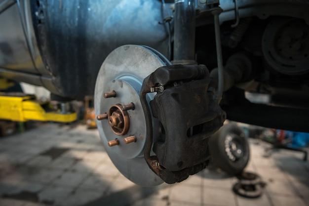 Riparare e controllare l'automobile nell'officina riparazioni. un tecnico esperto ripara la parte difettosa della macchina. cambio gomme
