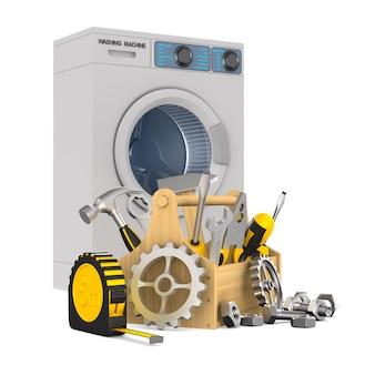 Riparazione lavatrice su bianco. illustrazione 3d isolata