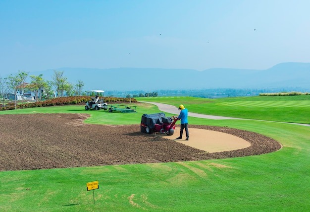 Riparare il prato sul campo da golf verde mettente