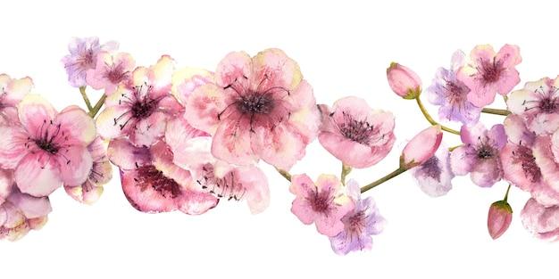 Una ripetizione del bordo orizzontale estivo con fiori acquerellati e foglie di ciliegio