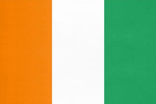 Bandiera del tessuto nazionale della repubblica d'avorio, sfondo tessile simbolo del mondo mondo africano