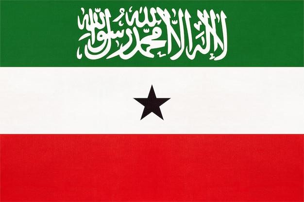 Bandiera del tessuto nazionale della repubblica del somaliland, sfondo tessile.
