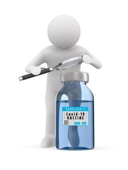 Vaccino di ricerca da covid-19 su sfondo bianco. illustrazione 3d isolata