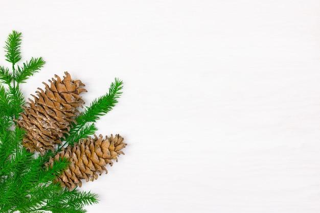Coni resinosi di cedro con rami di albero di natale verde su superficie di legno bianco copia spazio