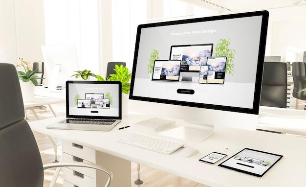 Dispositivi reattivi al mockup di rendering 3d dell'ufficio loft