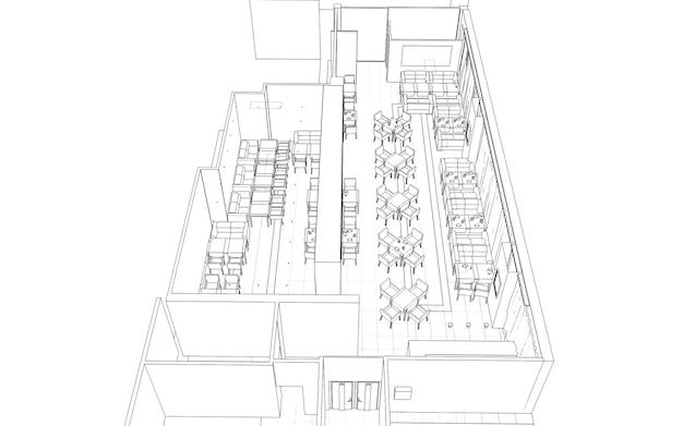 Schema di schizzo dell'illustrazione 3d del ristorante