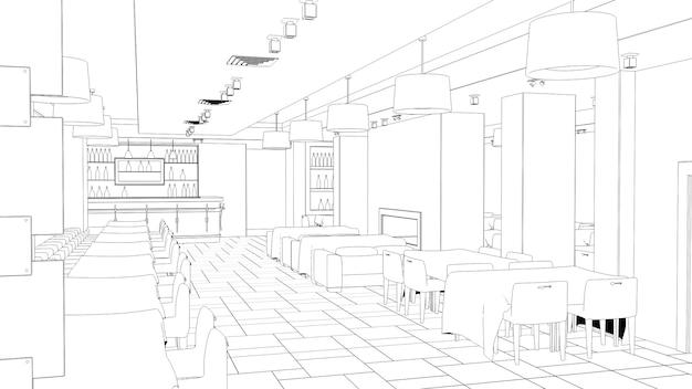 Contorno dello schizzo dell'illustrazione 3d del ristorante