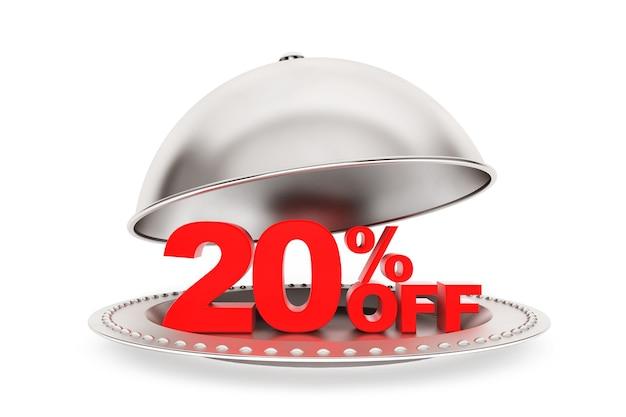 Cloche del ristorante con il 20 percento di sconto segno su sfondo bianco
