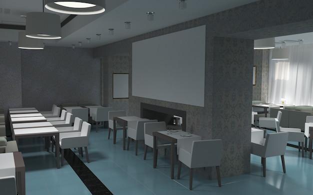 Ristorante, visualizzazione degli interni, illustrazione 3d