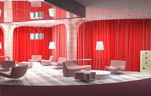 Ristorante, visualizzazione degli interni, 3d Foto Premium