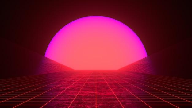 Paesaggio futuristico al tramonto synthwave in stile retrò anni '80 con sole al neon rosso porpora e griglia prospettica.