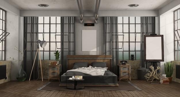 Retro camera da letto con letto matrimoniale in un soppalco