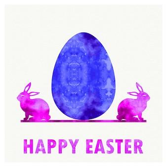 Retro illustrazione dell'uovo di pasqua e dei conigli per il fondo di festa. biglietto in stile creativo e vintage