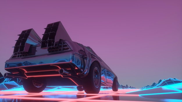 L'auto futuristica retrò in stile anni '80 si muove su un paesaggio al neon virtuale. illustrazione 3d